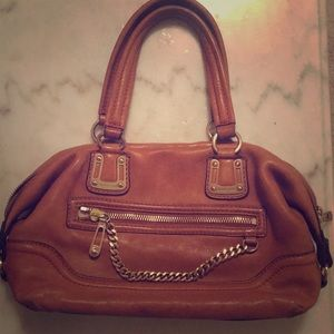 Vintage camel leather micheal kors shoulder bag